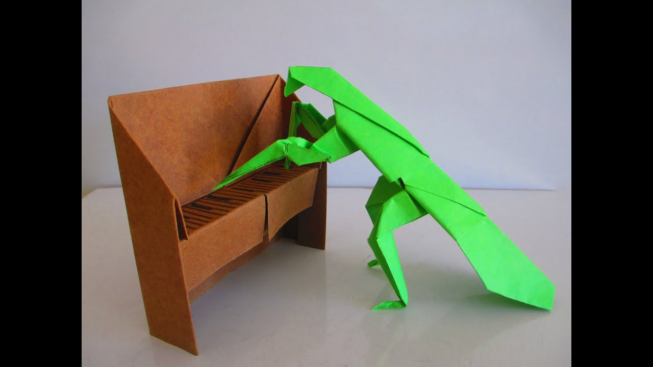 3d origami praying mantis playing the piano tutorial youtube