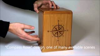 Cherry Wood Cremation Urn With Compass Rose Etching