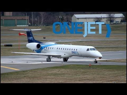 Onejet erj-145 sceinic approach and FULL taxi into albany