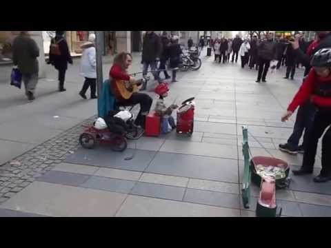 Dresden  Busker near shopping center