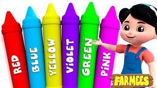 Learn Colors For Baby Kids Children And Toddler | Crayons Song | Nursery Rhymes by Farmees