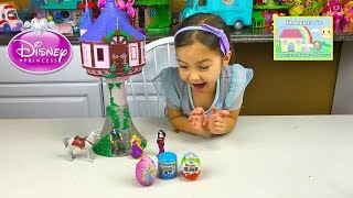 BIG RAPUNZEL TOWER CASTLE TANGLED Kinder Surprise Egg Kids Toys Review Disney Princess Videos
