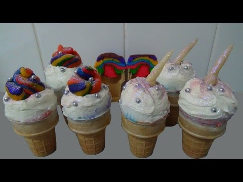 Rainbow ice cream cake cones unicorn