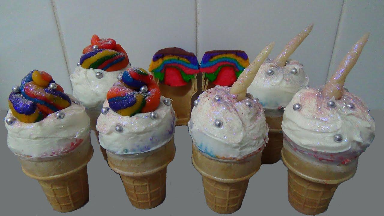 Rainbow Cake In Ice Cream Cones