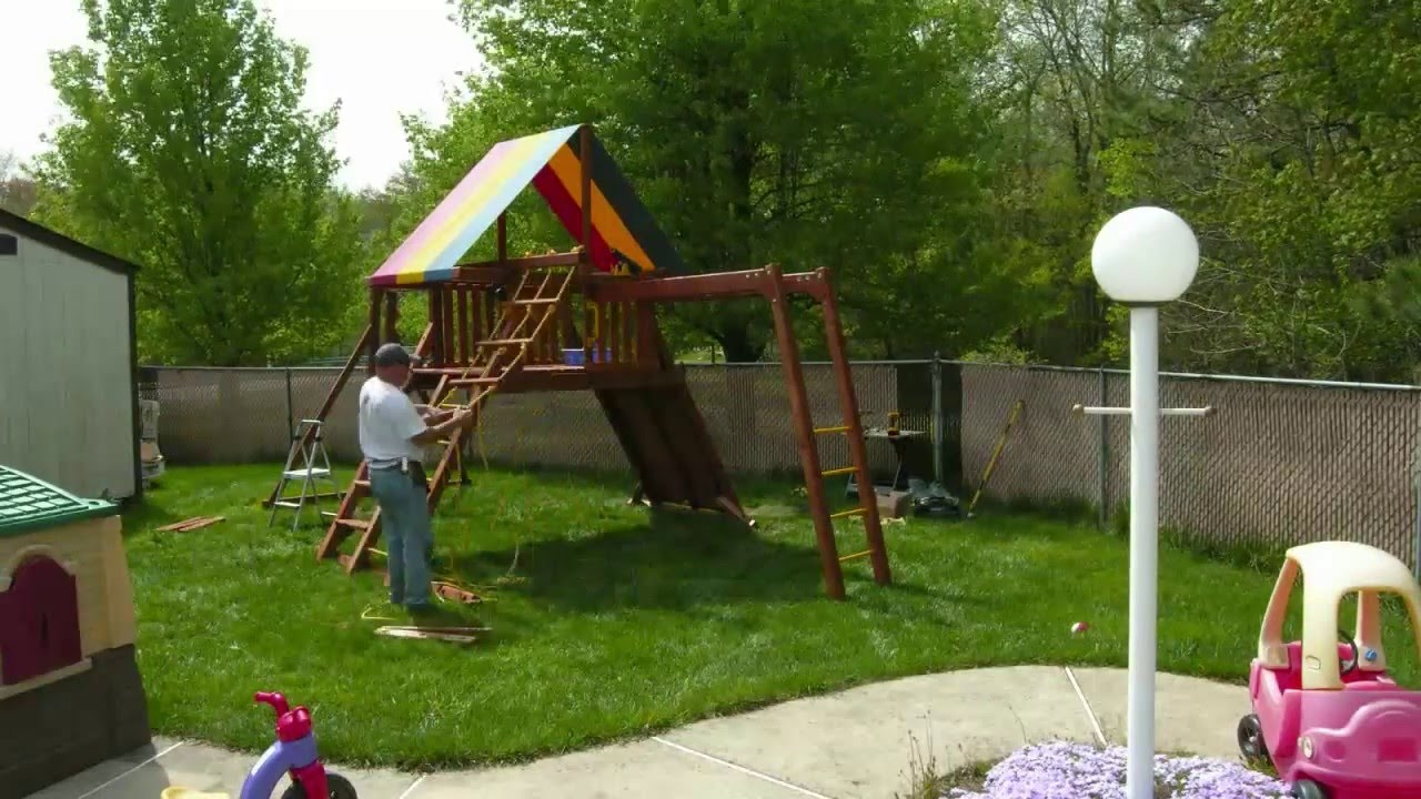 All American Palace Swing Set Installation Installer Youtube