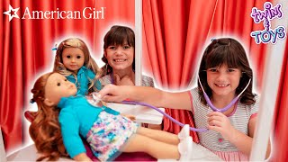 Kate & Lilly's Dolls get a doctor check up at the American Girl Store! with Princess Lollipop