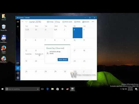 National Holidays - add to Windows 10 Calendar