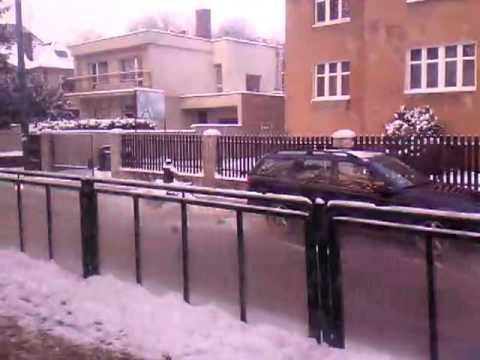 Tram ride in poznan in snowy times of the winter
