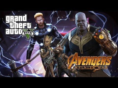 🔴 GTA 5 : Infinity War Mod : Thor W/ Stormbreaker , Rocket Raccoon & Groot Vs Thanos | Episode #8