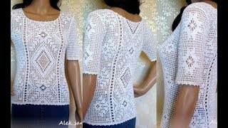 Кофточка Крючком Филейным Узором - 2019 / Blouse with Crochet Pattern