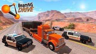ПОЛИЦЕЙСКАЯ ПОГОНЯ ЗА ОГРОМНЫМ ГРУЗОВИКОМ В BEAMNG DRIVE! (BeamNG.drive ПОГОНЯ)