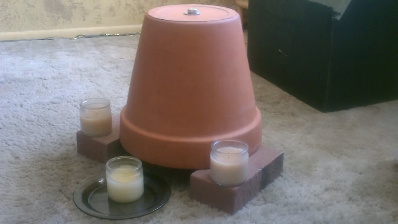 YouTube & Candle Powered Air Heater - DIY Radiant Space Heater - flower pot heater - Easy DIY