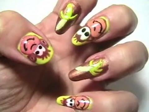 Monkey's and Banana's nail art - YouTube