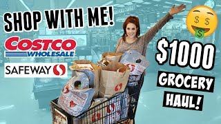 HUGE Monthly Grocery Shop With Me + Costco Haul | Large Family Food Shopping Trip!