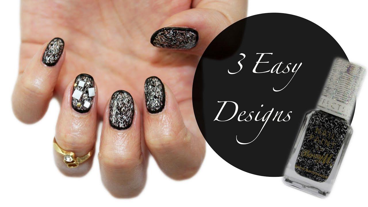 3 Easy Black & White Designs   Fuzzy Nail Polish ♡♥ - YouTube