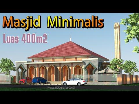 Desain Gambar Arsitek Masjid Minimalis Modern 1 Lantai Luas 400 M2