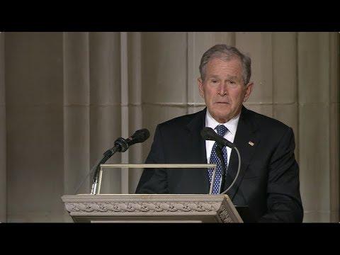 George W. Bush bids emotional farewell to father