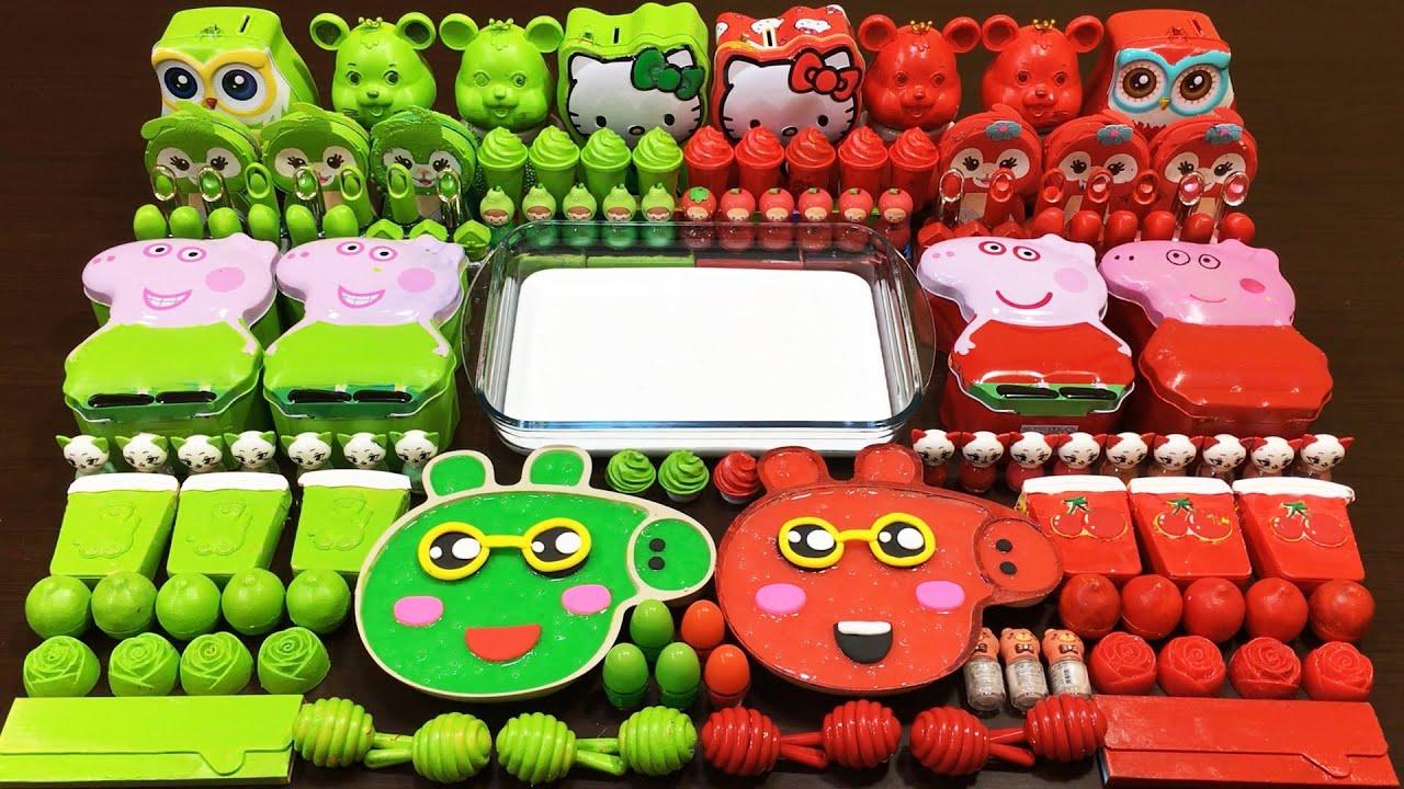 GREEN vs RED PEPPA PIG/* Slime !Mixing Random Things into GLOSSY Slime ! Satisfying Slime Video #316