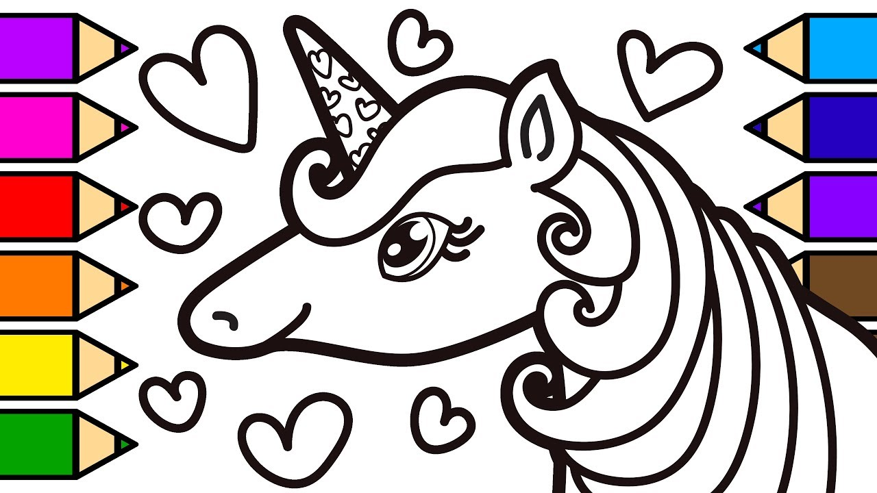 Unicorn Colouring and Painting with Glitter Markers and Colored ...