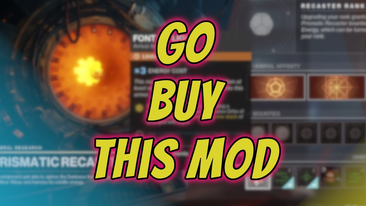 Font Of Light Mod Prismatic Recaster Is Selling Today Destiny 2 Season Of Arrivals Youtube
