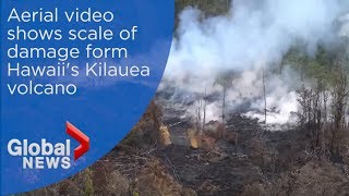 New aerial footage from Hawaii's national guard shows scale of volcano damage