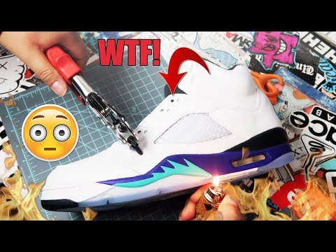 "ADDING LACES TO AIR JORDAN ""FRESH PRINCE"" GRAPE 5S!!! (TUTORIAL)"