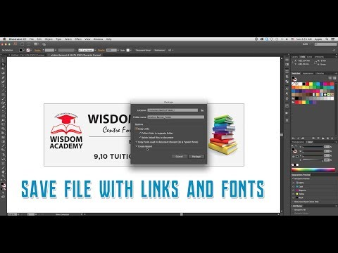 How to save a file with links and fonts (Package) in Adobe Illustrator CC Mp3
