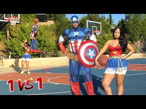 COUPLE 1v1 BASKETBALL - Captain America vs. Wonder Woman