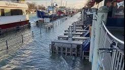 Crazy Hochwasser Warnemünde Januar 2019