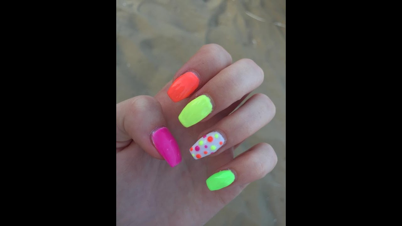 Neon Dream Gel Nails Tutorial - YouTube