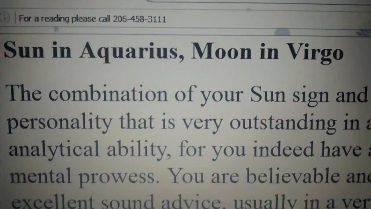 Sun in Aquarius with Moon in Virgo