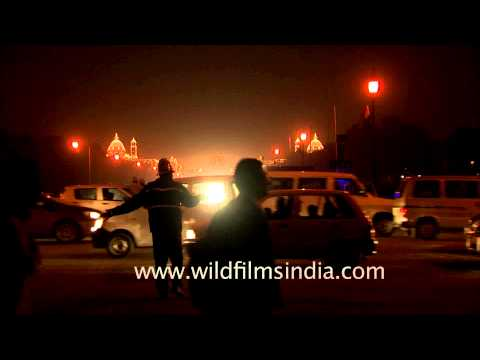 View of vehicles moving at the backdrop of Rashtrapati Bhavan, Delhi