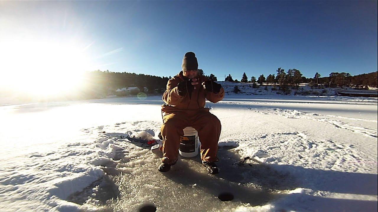 Evergreen lake ice fishing 12 14 15 youtube for Evergreen lake fishing report