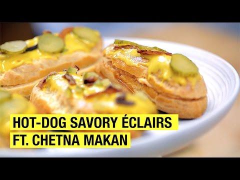 Hot Dog Savory Eclair with Sweet Mustard Glaze ! feat Chetna Makan !