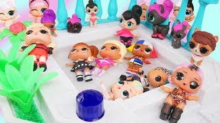Big Brother + Sisters LOL Surprise Dolls Visit Barbie Spa Pool Party   Toy Video