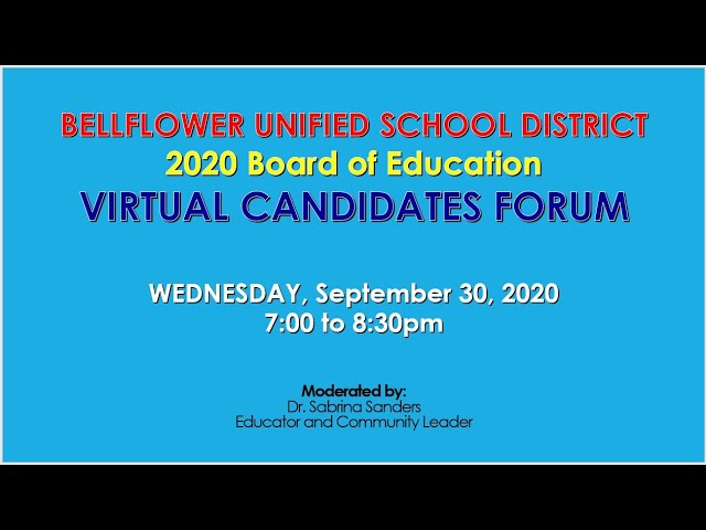 BUSD Board of Education Candidates Forum 9/30/2020