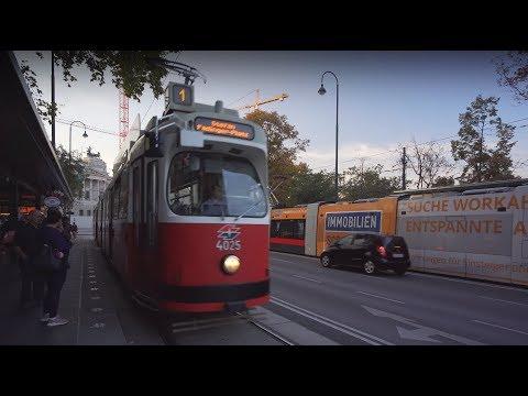 Austria, Vienna, tram 1 ride from Volkstheater to Stefan-Fadinger-Platz