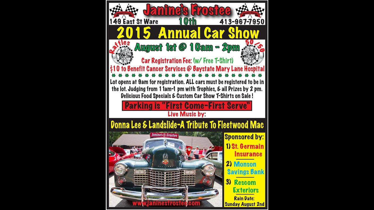 Janines Frostee Th Annual Car Show YouTube - Car show t shirts for sale