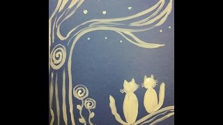 Ночная серенада.  Влюбленные кот и кошка.