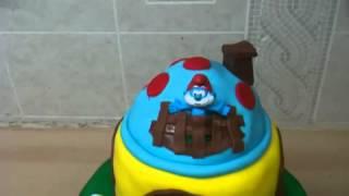 Smurf Mushroom House Cake