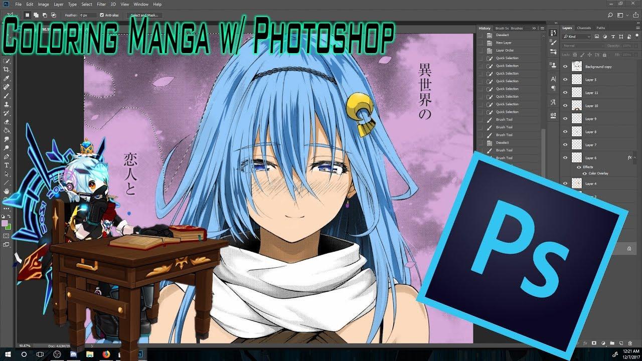 Coloring Manga Art with Photoshop - YouTube