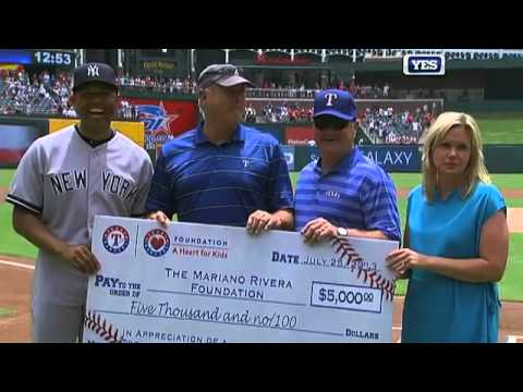 3391e515c4231 Mariano Rivera honored by the Texas Rangers - YouTube