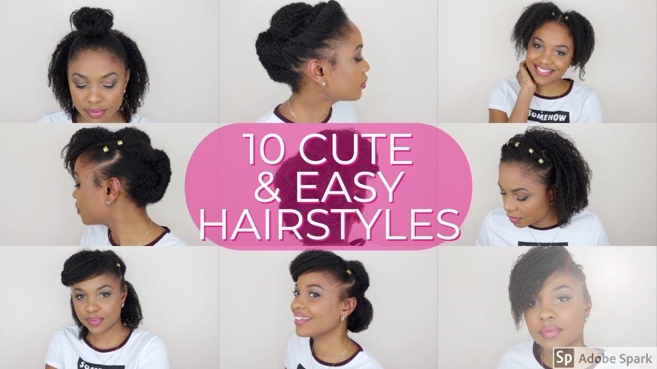 10 Easy Cute Hairstyles Short Natural Hair Youtube