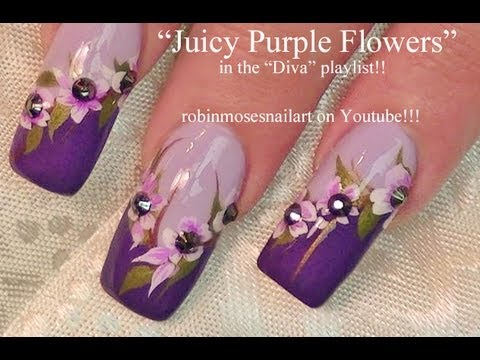 Purple Flower Nail Art design tutorial | Lavender Tips long nails