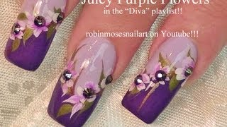 3 Nail Art Tutorials | Diy Purple Flower Nail Art Design Tutorial | Long Nails