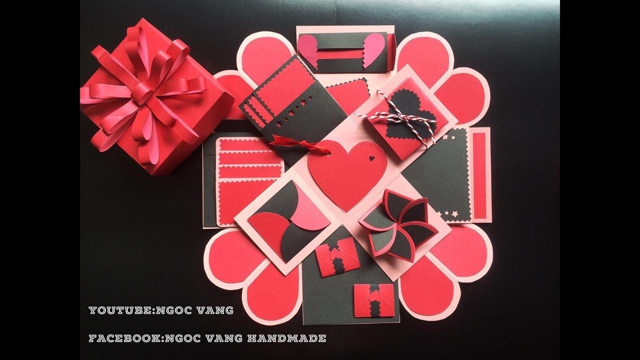 Ý tưởng love box 10x10cm  Đen đỏ phiên bản 2 ngoc vang