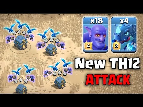 New TH12 Attack 2019! 4 Electro Dragon 18 Bowler Destroy TH12 War Bases ( New Update) Clash Of Clans