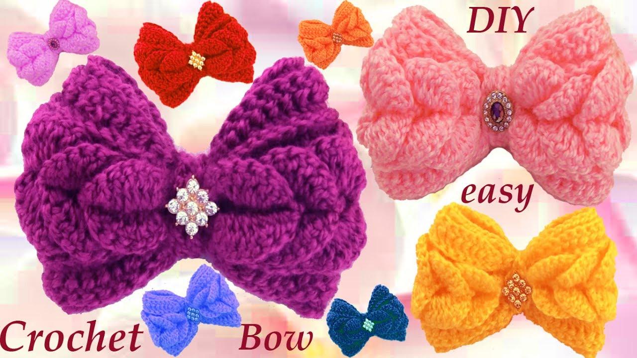 Como tejer con ganchillo crochet f cil lazos en punto de - Como hacer flores de ganchillo ...