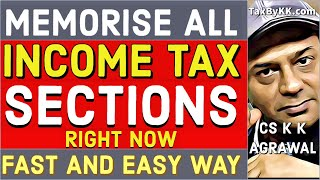 How to memorise chapter names and section numbers of income tax act 1961?