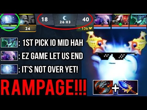 EPIC Sh*t 1st PICK Io RAMPAGE 1v5 Most Craziest Comeback Top Ranked Game Of The Day 7.22 Dota 2